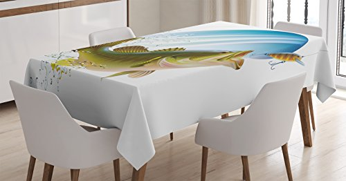 Fishing Decor Tablecloth by Ambesonne, Largemouth Sea Bass C