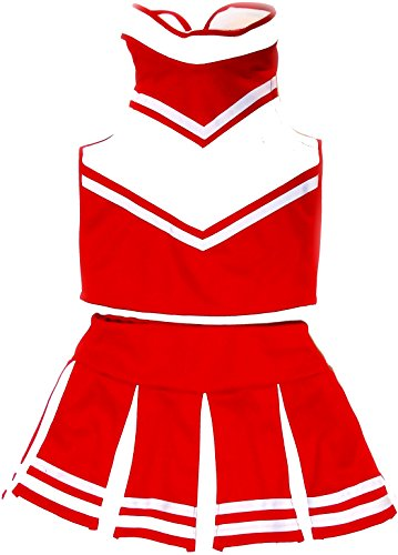 Women Cheerleader Cheerleading Outfit Uniform Costume Cosplay Red/White (S/ 4-6) -