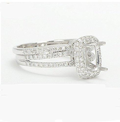 (GOWE 7x9mm Cuahion 14K White Gold Natural Pave Set Diamond Semi Mount Setting Ring & Wedding band)