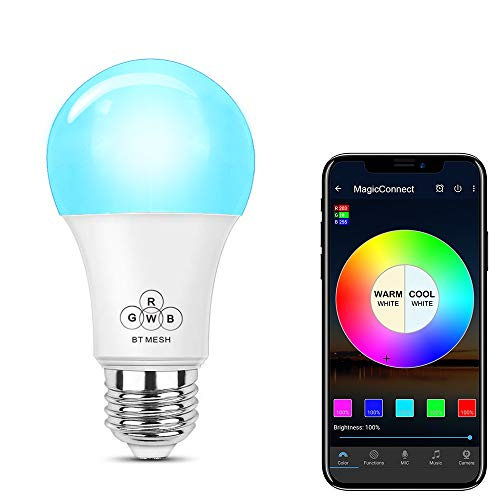 MagicConnect Bluetooth Mesh Multicolor Light Bulb, No Hub Required (Hub Required to Enable Remotely Google Alexa Voice Control, Hub Sold Separately) - Formerly HaoDeng