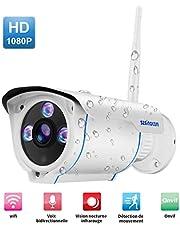 Caméra HD WiFi sans Fil 1080P IP Sécurité Caméra de Surveillance étanche Vision Nocturne Détection de Mouvements pour Extérieur Domicile et Milieu Professionnel Accepte la Carte SD jusqu'à 128G