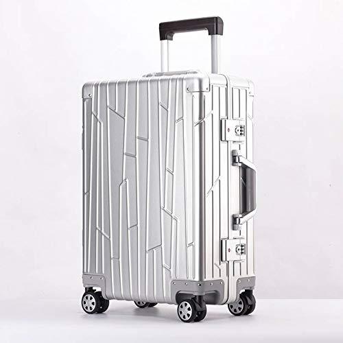 SPRINGYOU 100% アルミ-マグネシウム合金ローリング荷物スピナー男性ビジネススーツケースホイール 20 インチキャビントロリー旅行バッグ 20\ シルバー B07QWWYGPM