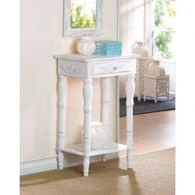 Furniture Creations Carved Wood Shabby Top White Side Night End Table Chic by Sunshine Megastore