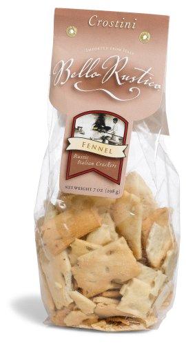 Bello Rustica Crostini, Fennel Rustic Italian Crackers, 7-Ounce Bags (Pack of 12)