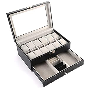 PENGKE Watch Box Organizer 2 Tier PU Leather Watch Case Display Organizer for Jewelry Watch,Rings,Lock and Glass top