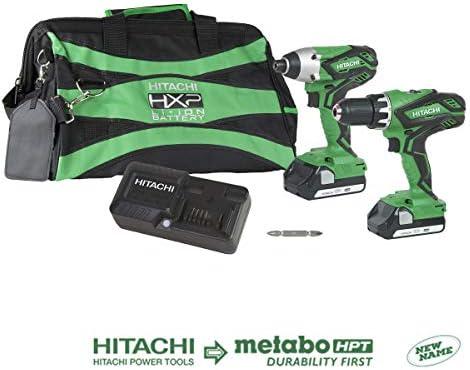 Hitachi KC18DGLS 18V Lithium Ion Cordless Combo Kit DV18DGL Hammer Drill WH18DGL Impact Driver with 2-1.5Ah Batteries