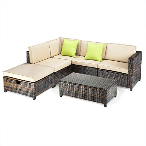 (Pamapic 6pcs Wicker Furniture Set with Lounge Chair and Storage Function, PE Rattan Outdoor Sectional Sofa with Cushioned Seat and Coffee Table, Adjustable Back Support Porch Patio, 6 Piece Brown Mix)