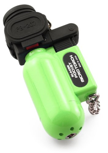 Pocket Micro Torch - Blazer PB207CR The Torch Butane Refillable Lighter, Lime Green
