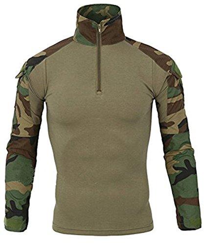 EKLENTSON Combat Shirt Men Long Sleeve Outdoor Hunting Shirt Camo Shirt (Battle Rip Combat Shirt)