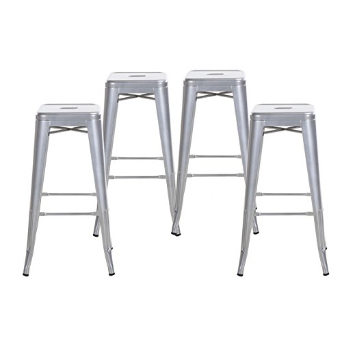 Buschman Set of Four Gray 30 Inches Counter High Tolix-Style Metal Bar Stools, Indoor/Outdoor, Stackable (Craftsman Style Patio)