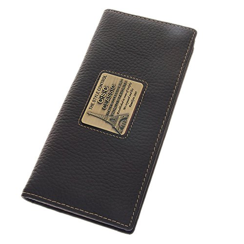 (Paris Tower Nameplate Mens Horizontal Long Style Genuine Leather Bifold Walllet Purse Checkbook Wallet Black Money Clip With Card Slots ID Window Pen Loop)