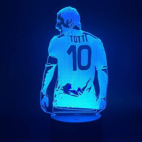3D Led Night Light Lamp Football Player Francesco Totti Back View Figure for Office Room ()