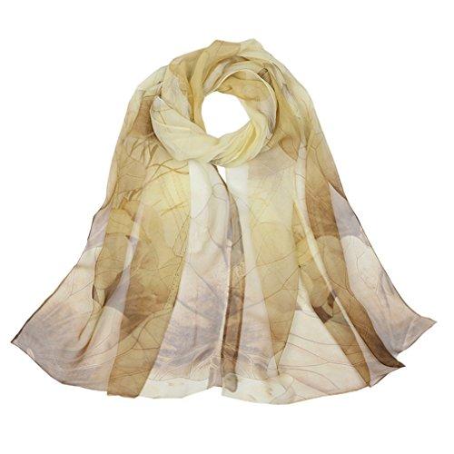 Silk Scarf Floral Scarves Chiffon Scarf Cape Head Wraps Long Shawl QQS21 Apricot