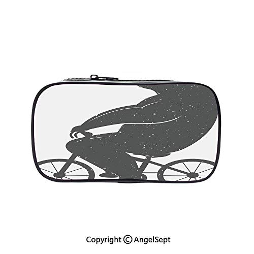 Pencil Holder with Handle Strap Handy Colored,Bear on a Bike Cute Humor Parody Stylized Modern Funny Cycling Hipster Artwork Grey 5.1inches,Large Capacity Students Stationery ()