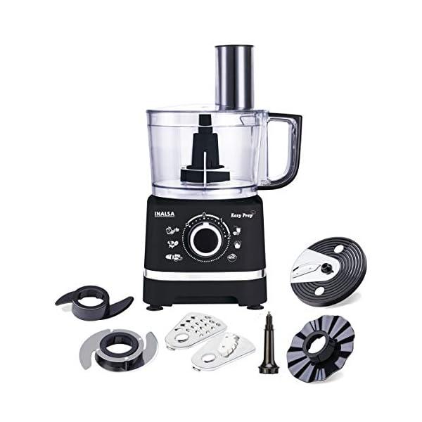 Inalsa Food Processor Easy Prep-800-Watt with Processing Bowl & 7 Accessories (Black)