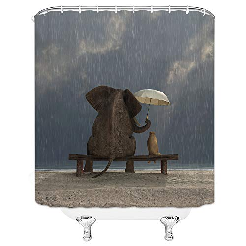 Shower Curtain Elephant Theme Creative Gray Sky Raining With Umbrella Sitting And Watching The Scenery Of The Elephant Dog 70 X 70 In Waterproof Polyester Fabric Bathroom Accessories Hanging Curtains