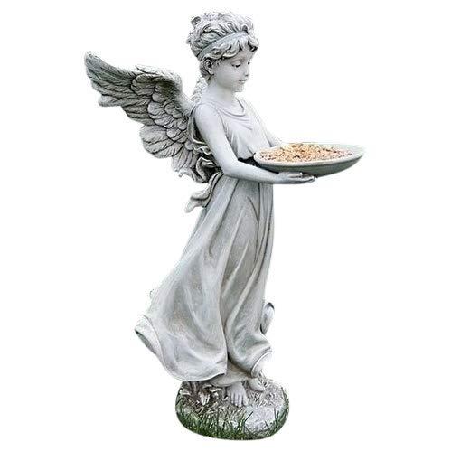 Roman Child Angel Tray Concrete Look 18 x 10 Resin Stone Outdoor Garden Bird Feeder ()