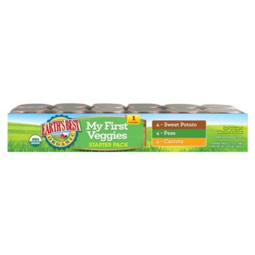 Large Product Image of Earth's Best Organic Stage 1 Baby Food, My First Veggies Variety Pack (Carrots, Peas, and Sweet Potatoes), 2.5 Ounce Jars, Pack of 12