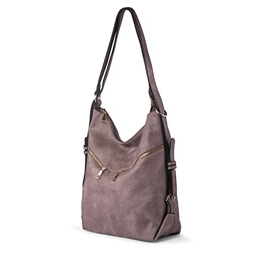 PU Leather Shoulder Bag Women Convertible Backpack Large Capacity Handbag Tote Purse Casual Lilac - Convertible Purse