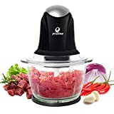 POSAME Meat Grinders Electric Food Processor,Mini Kitchen Food Chopper Vegetable Fruit Cutter Onion Slicer Dicer, Blender and Mincer, with 4-Cup Glass Bowl (Black)