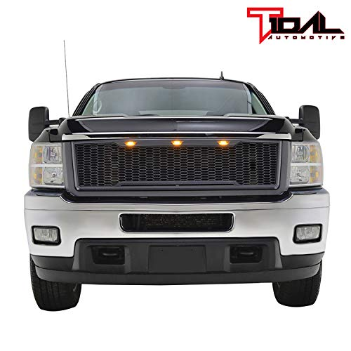 Tidal Replacement Silverado ABS Upper Grille - Charcoal Gray - With Amber LED Lights for 11-14 Chevy Silverado 2500/3500 Heavy Duty Diamond Plate Hood Vent