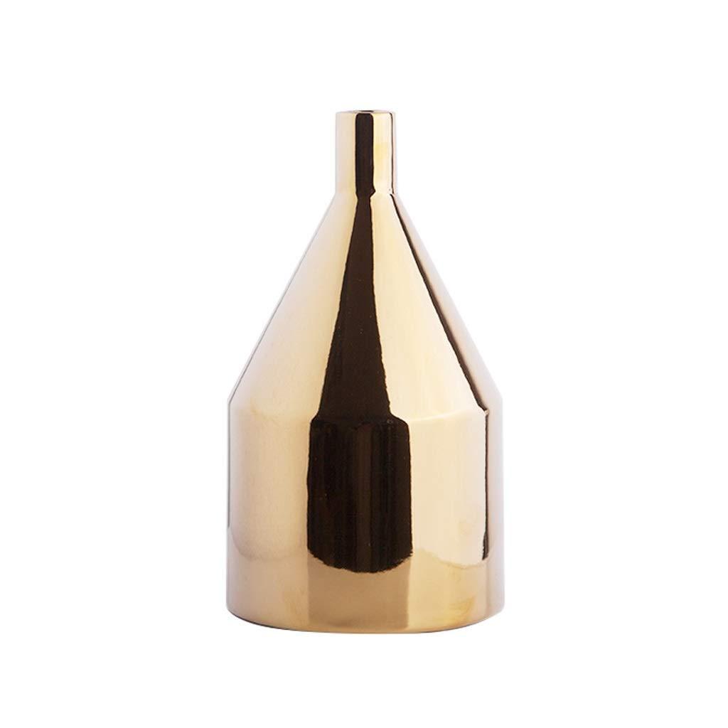 円錐形の花の花瓶のボトル北欧シンプルな乾いた花のための水差し、リビングルームのための装飾品窓辺のホームアクセサリー、ゴールド26 cm B07SXK4XZV