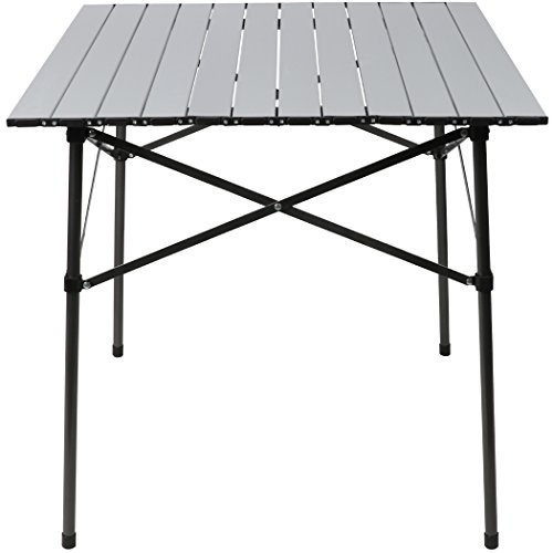Timber Ridge Ultra Light Aluminum Square Roll Top Table White