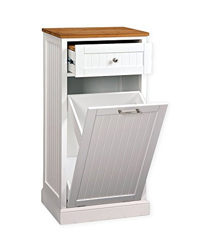 White Wood Kitchen Pantry Utility Microwave Corner Stand- Efficient Compact Storage With Hidden Trash Cabinet- Space Saver Sturdy Durable With Upper Storage Drawer and Organizer- Very Affordable by Creative House