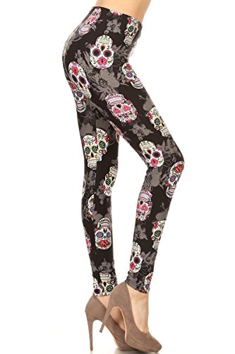 S113-OS Locked Skull Print Leggings -