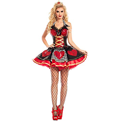 LVLUOYE Role Playing Queen Costume, Halloween Party Red Queen Cosplay Uniform, Stage Ds Performance Clothing,L ()