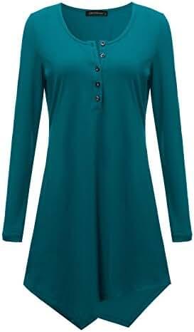 ZANZEA Women's Solid Slim Long Sleeve Irregular Hem Tunic Tops Shirt Mini Dress