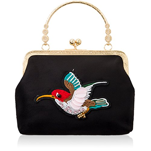 Vintage with Chain Black Frame Bag London Clasp Bridal Women Ladies Xardi Long Clutch Evening for Lock Bird Medium Bag Suede Wedding Faux Motif Kiss qvBxRgw