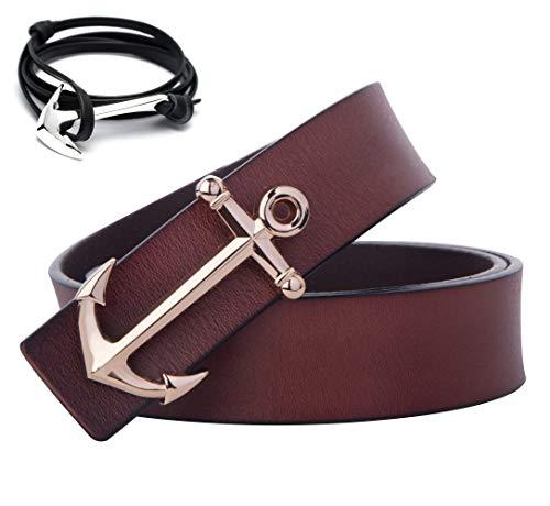 Matthew Men's Nautical Style Anchor Buckle Leather Belt (105cm/41.3inch (34-36), Coffee)