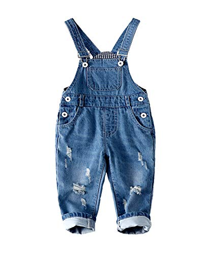 Kidscool Baby & Toddler Adjustable Ripped Fashion Jeans Overalls,Blue,12-18 - Baby Blue Overall