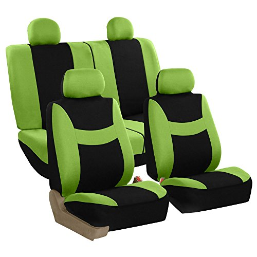 FH Group Stylish Cloth Full Set Car Seat Covers (Airbag & Split Ready), Green/Black- Fit Most Car, Truck, Suv, or Van