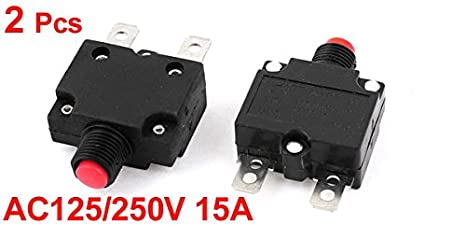 Almencla 2X 15A//20A Push Button Reset Circuit Breaker DC 50V AC 125//250V Thermal Overload Protector with Transparent Waterproof Button Cap
