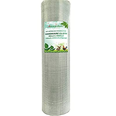 1/4 Hardware Cloth 36 x 100 23 gauge Galvanized Welded Wire Metal Mesh Roll Vegetables Garden Rabbit Fencing Snake Fence for Chicken Run Critters Gopher Racoons Opossum Rehab Cage Wire Window from F&T