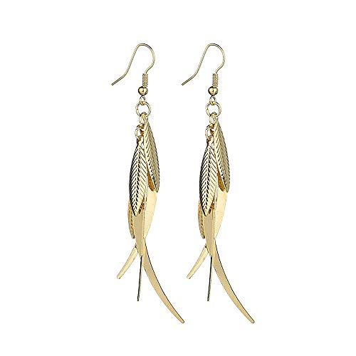 - ocean gift Gold Layered Tassel Earrings Summer Forest Dangle Drop Tiered Tassel Earrings Valentine's Day (Golden)