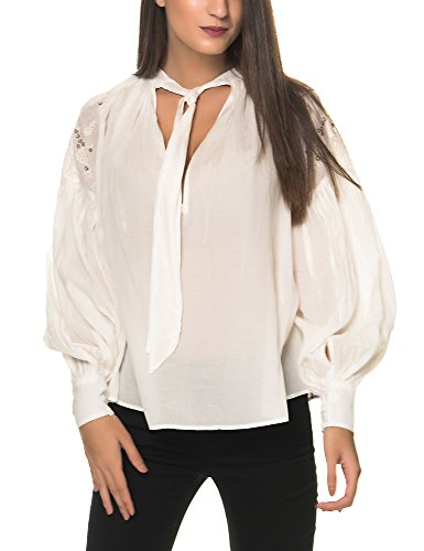 Free People Womens Embroidered Tie-Neck Blouse Ivory M