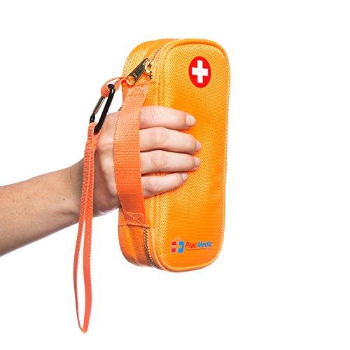 PracMedic- Epipen Carrying Case or Insulin Case - Premium Quality with YKK Zipper - fits Epi Pens, generic Benadryl, Asthma Inhaler, Nasal Spray, Eye Drops, Syringes, Vials, Ice Packs - Orange by PracMedic Bags (Image #6)