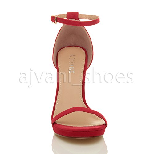 Ajvani Women There High Sandals Size Suede Barely Heel Red rrdFpqz
