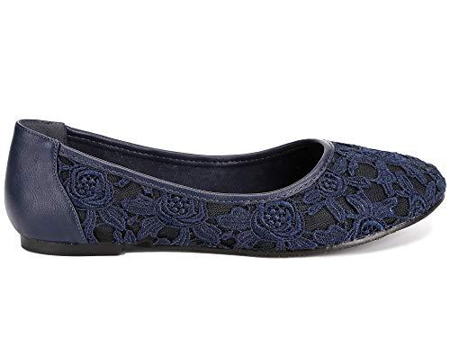 Azul Marino de Mujer Encaje Bailarina para Greatonu Forro Plana 8f06q