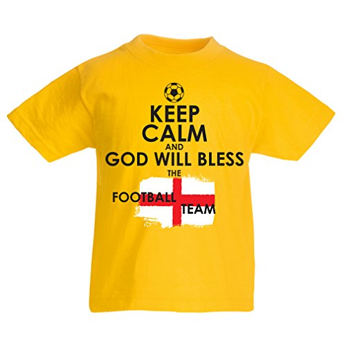 Kids Boys/Girls T-Shirt God Will Bless The Football Team of England, World Cup English Soccer Team Fan Jersey (7-8 Years Yellow Multi Color)