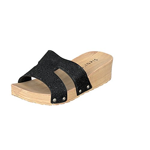 Siebi's COMO Chanclas Para La Piscina Playa Zapatillas Mujer Negro