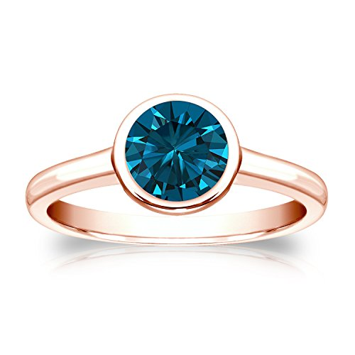 14k Rose Gold Round cut Diamond Solitaire Ring Bezel set (1/3 cttw, Blue Color, I1-I2 Clarity) Size - Rose Bezel Cut Set