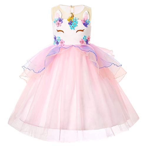Girls Unicorn Dress Birthday Party Princess Dresses for Little Girls Unicorn Tutu Costume Outfits Pink 1 100cm 2-3Y ()