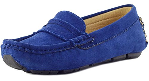 PPXID Girl's Boy's Suede Slip-on Loafers Shoes(Toddler/Little Kid/Big Kid)-Blue 4 US Size