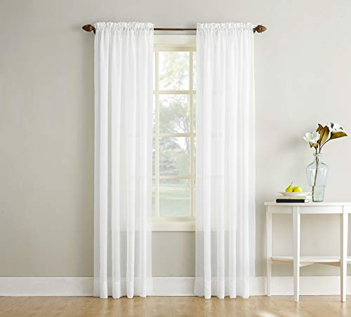 No 918 Erica Crushed Texture Sheer Voile Rod Pocket Curtain Panel 51 x 63 White