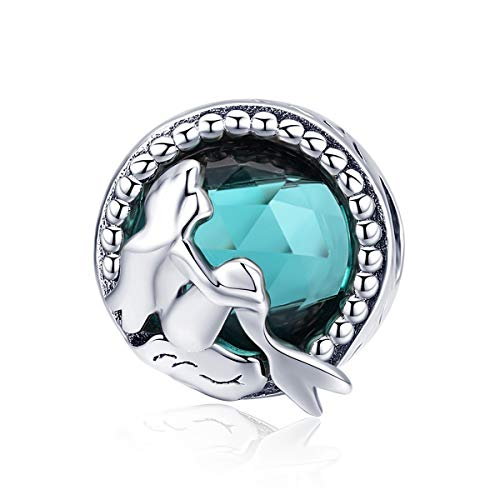 WOSTU 925 Sterling Silver Crystal Mermaid Bead Charms for Bracelets Women's Charms Jewelry]()