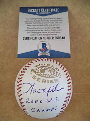 AARON MILES 2006 W.S. CHAMPS SIGNED 2006 WORLD SERIES BASEBALL BECKETT - Champs Series 2006 World